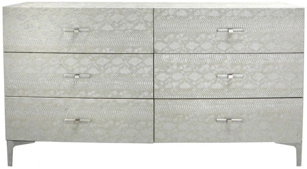 Enna Antique Faux Leather Snakeskin Chest of Drawer - 6 Drawer