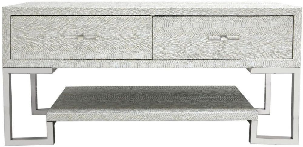 Enna Silver Faux Snakeskin Entertainment Unit