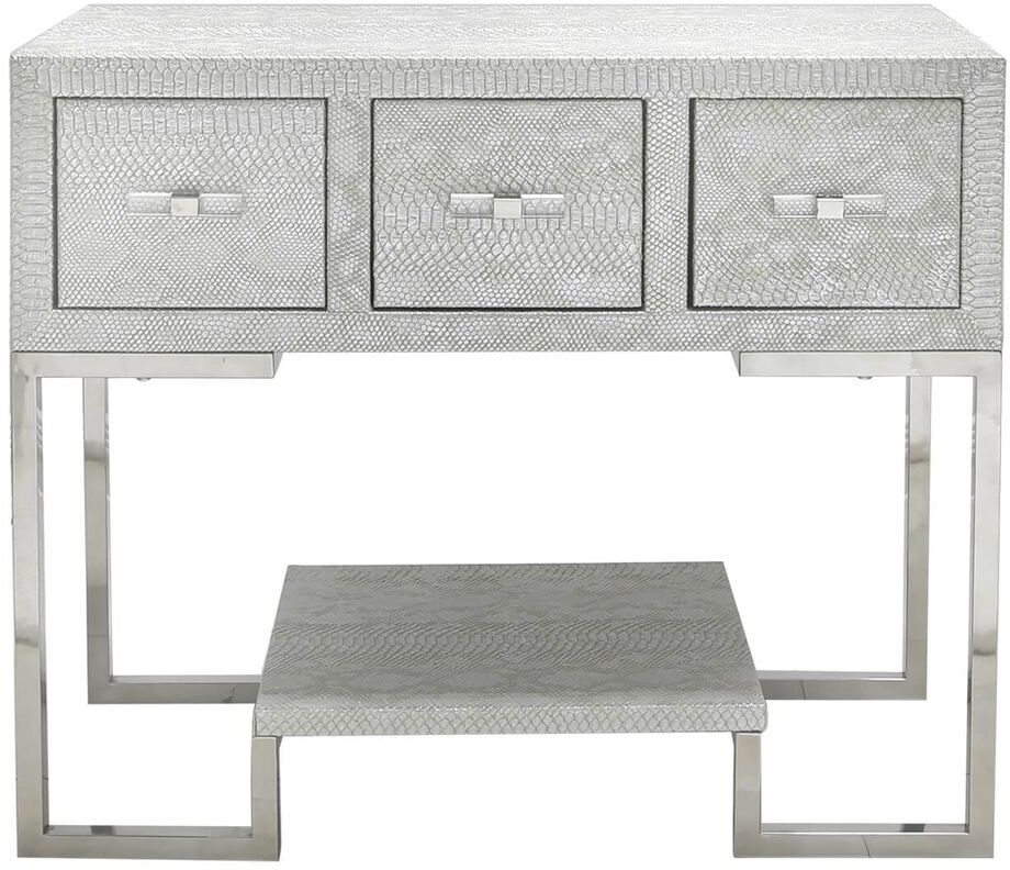 Enna Silver Faux Snakeskin 3 Drawer Cabinet