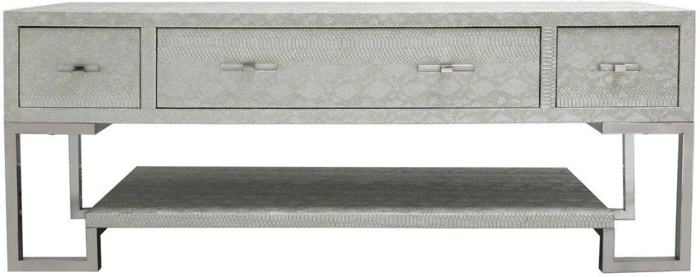 Enna Silver Faux Snakeskin Large Entertainment Unit