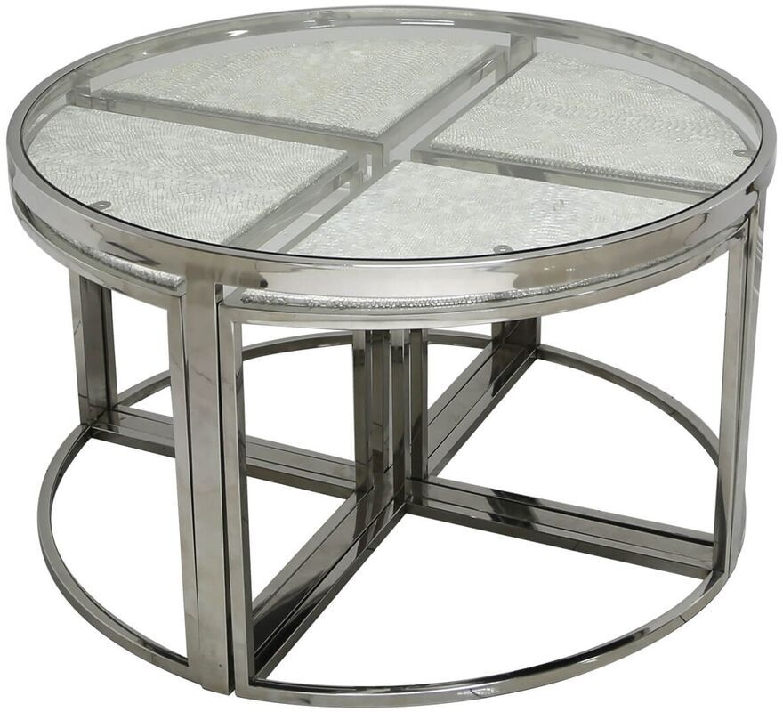 Enna Silver Faux Snakeskin Coffee Table