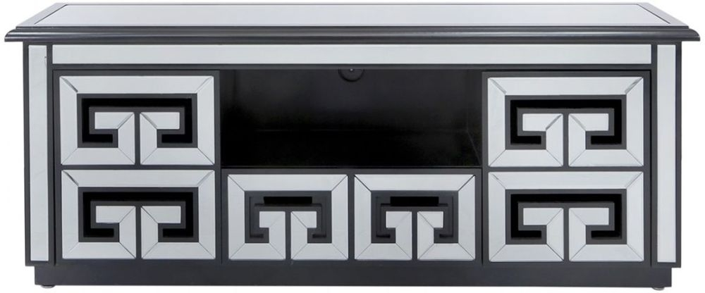 Essen Black Trim Mirrored Entertainment Unit