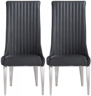 Favara Grey Faux Leather Dining Chair (Pair)