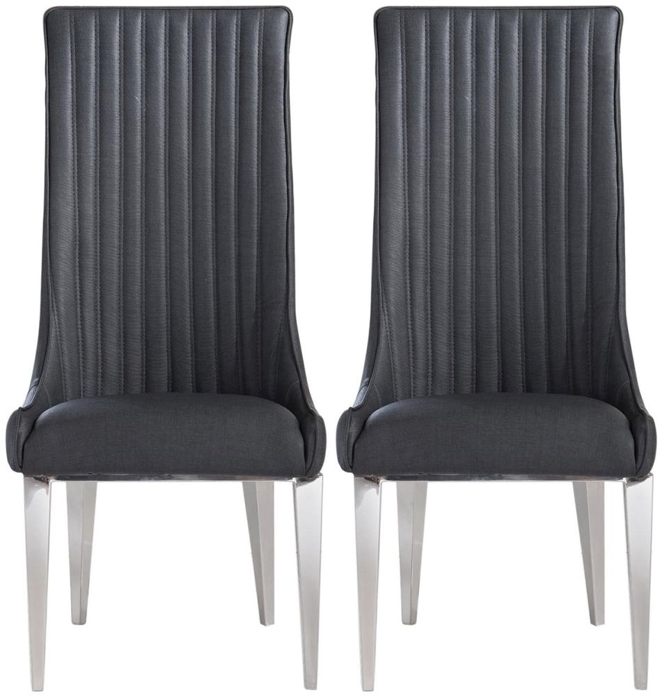 Buy Favara Dark Grey Faux Leather With Chrome Legs Dining Chair
