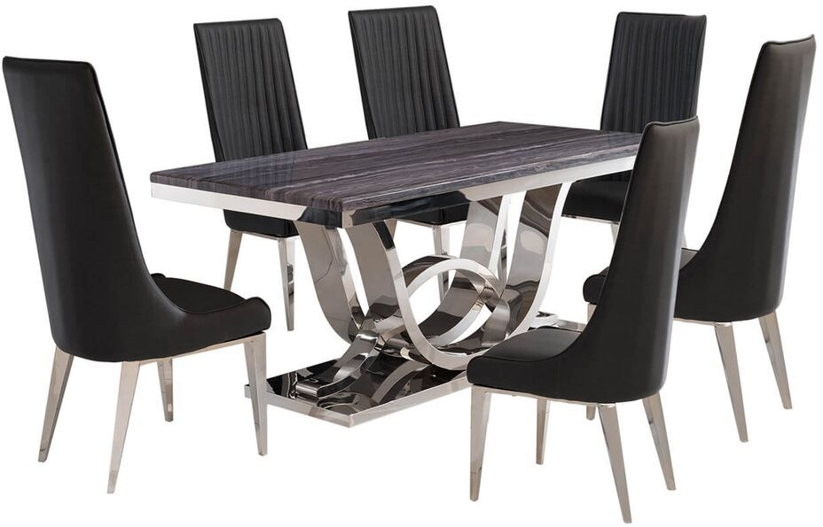 Favara Dining Table and 6 Grey Faux Leather Chairs - Marble and Chrome