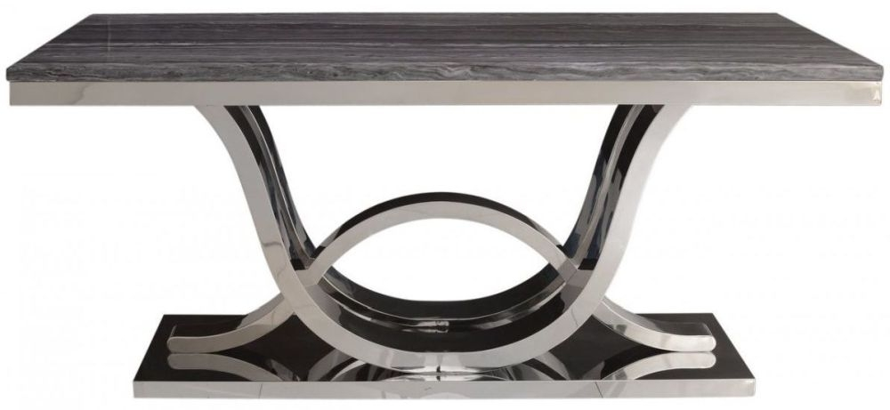 Favara Grey Marble Effect and Chrome Dining Table