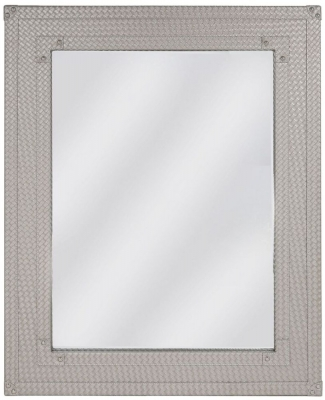 Fermo Light Taupe Faux Leather Rectangular Wall Mirror - 90cm x 70cm