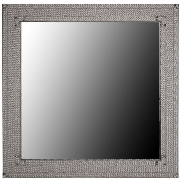 Fermo Light Taupe Faux Leather Square Wall Mirror - 100cm x 100cm