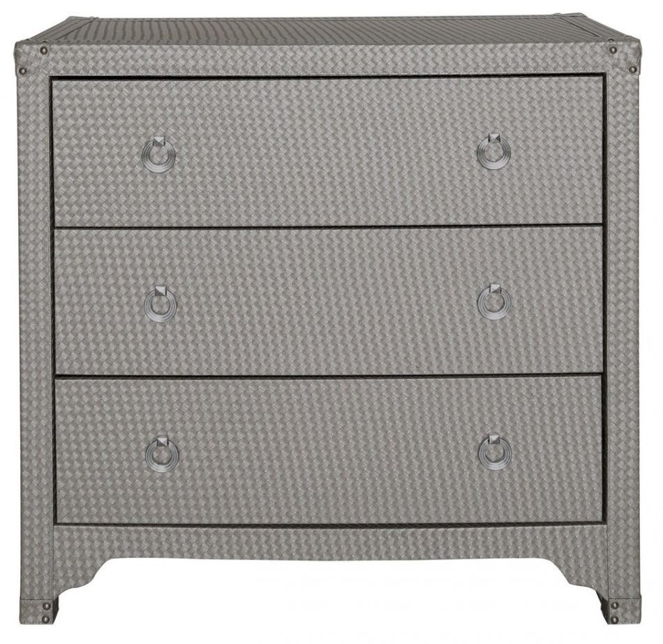 Fermo Faux Leather Bardot LIght Weave Bedside Cabinet - 3 Drawer