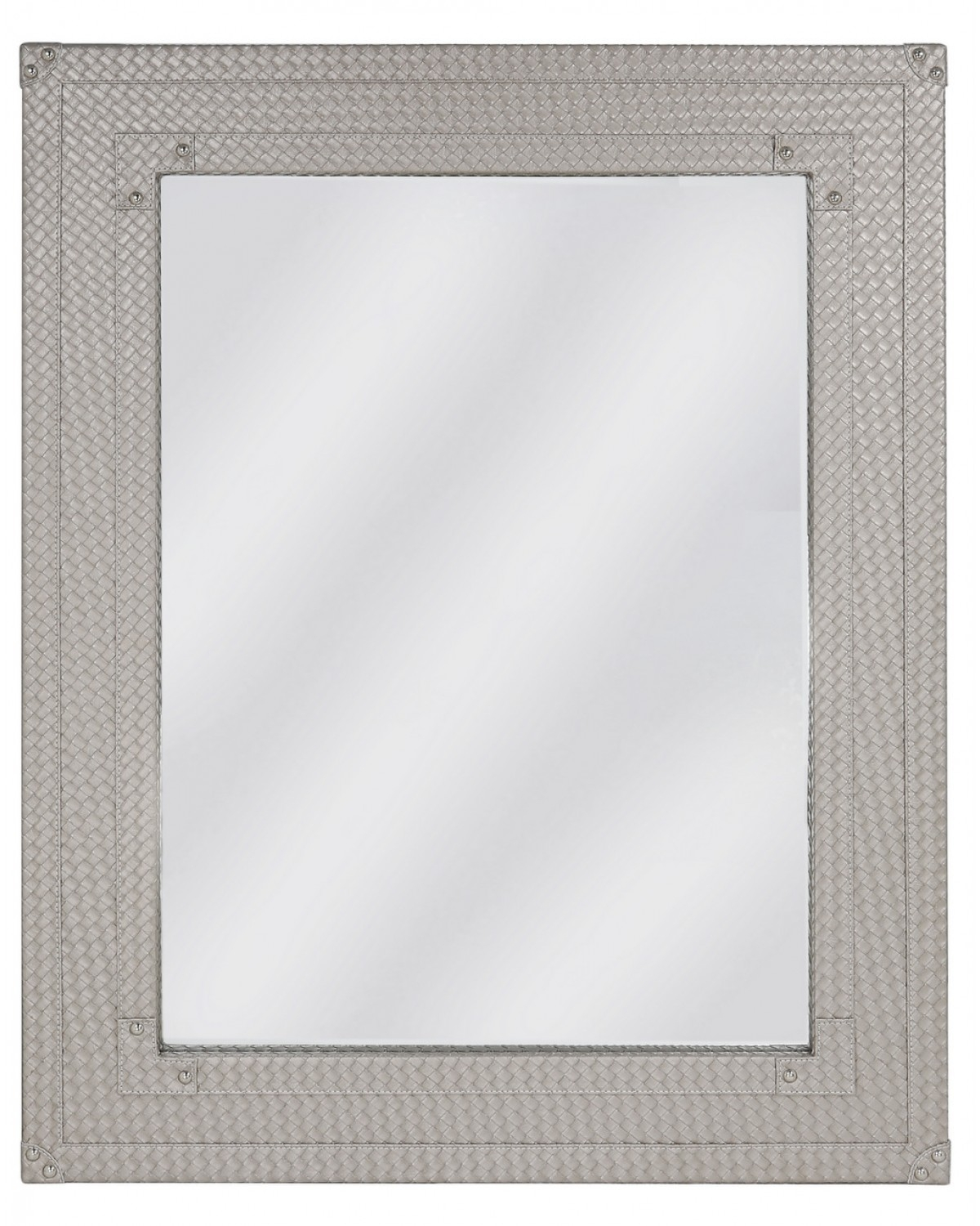 Fermo Faux Leather Bardot LIght Weave Beveled Wall Mirror