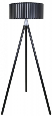 Havana Black Floor Lamp with Round Wooden Shade