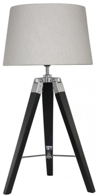 Havana Black Table Lamp with Natural Shade