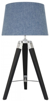 Havana Black Tripod Table Lamp with Blue Shade