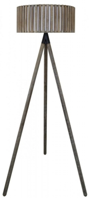 Havana Grey Floor Lamp with Round Grey Wooden Shade
