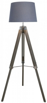 Havana Natural Grey Floor Lamp with Blue Shade
