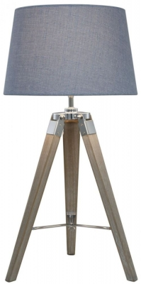 Havana Natural Grey Table Lamp with Blue Shade