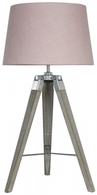 Havana Natural Grey Table Lamp with Pink Shade