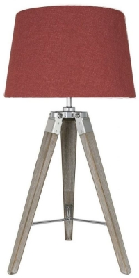 Havana Terracotta Grey Table Lamp with Square Linen Shade