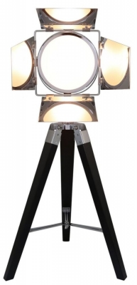 Luminaire Black Wood Directors Photo Table Lamp