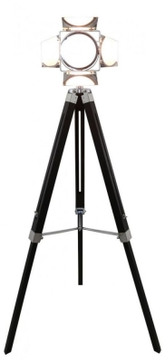 Luminaire Tripod Black Wood Photo Floor Lamp