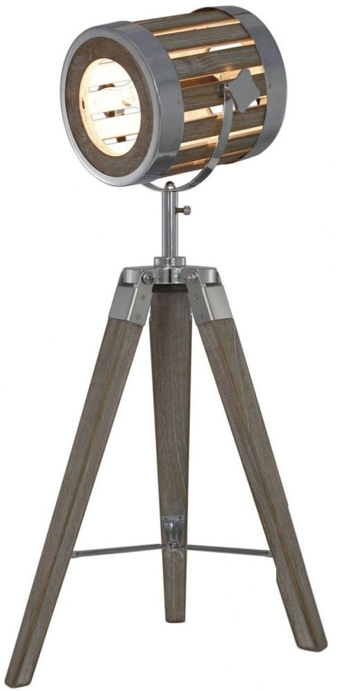 Grey Wood Tripod Table Lamp
