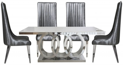 Helia Natural Marble Rectangular Dining Set with 6 Grey Faux Leather Chairs - 190cm