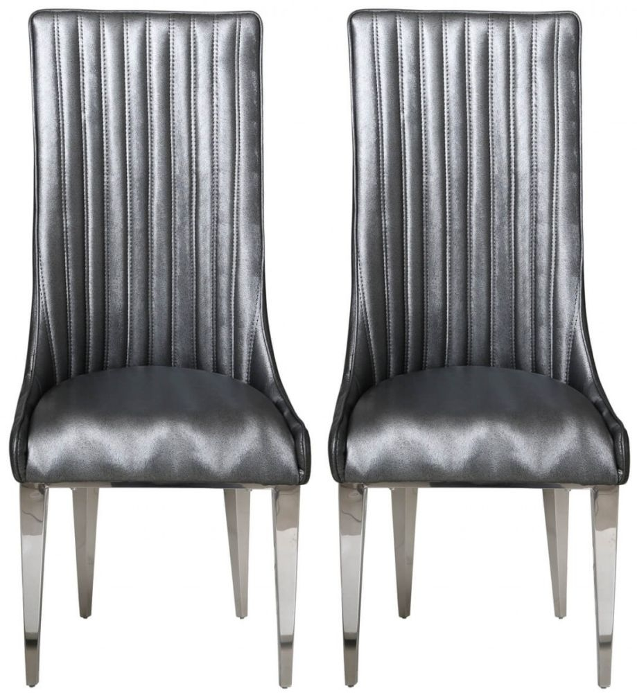 Helia Grey Faux Leather Dining Chair (Pair)