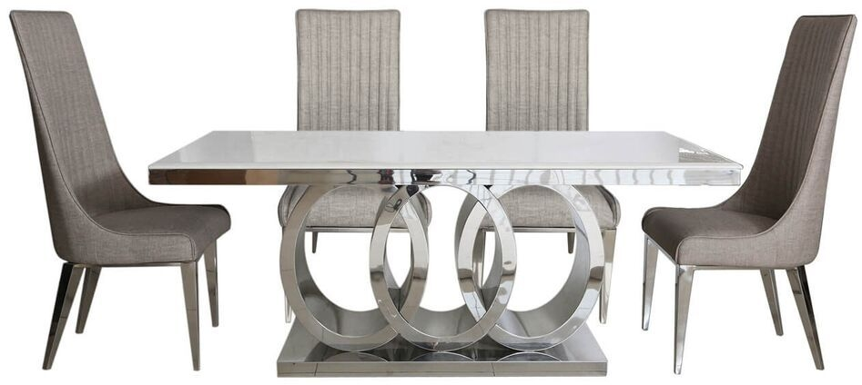 Helia Natural Marble Dining Table and 6 Taupe Chairs