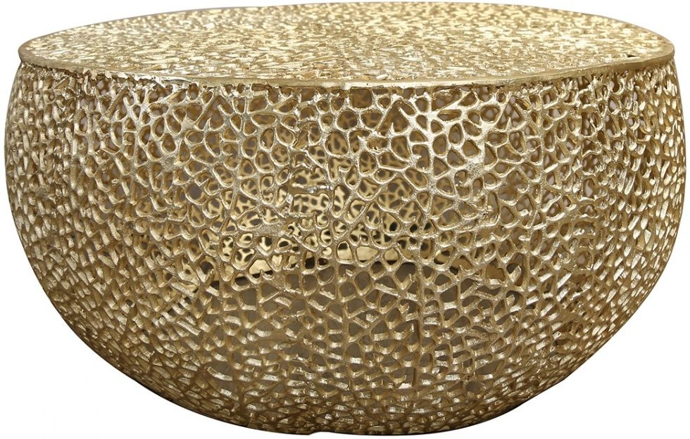 Gold Metal Round Coffee Table.Hessmer Round Coffee Table Gold