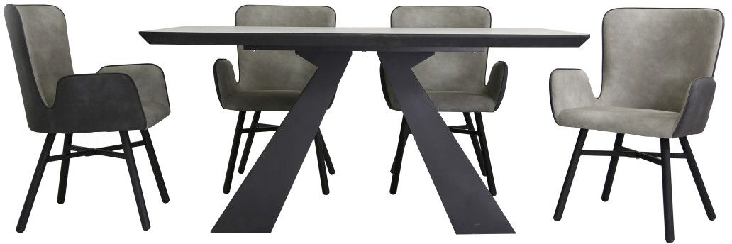 Houma Dining Table and 4 Chairs - Grey and Black