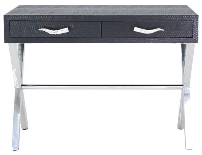 Lecco Black Faux Snakeskin and Chrome Console Table