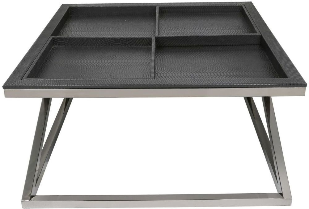 Lecco Black Faux Snakeskin Coffee Table