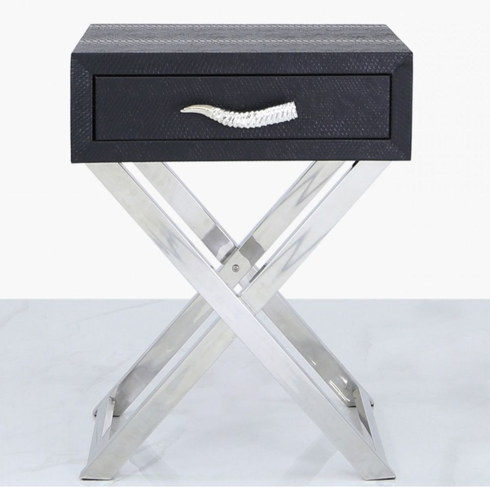 Lecco Black Faux Snakeskin and Chrome End Table