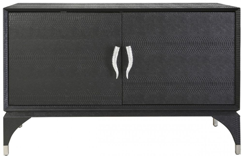 Lecco Black Faux Snakeskin TV Cabinet - 2 Door