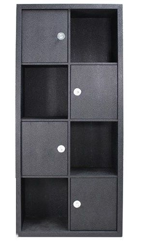 Lecco Black Faux Leather Bookcase