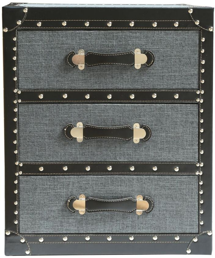 Leece Grey Trunk Style 3 Drawer Chest