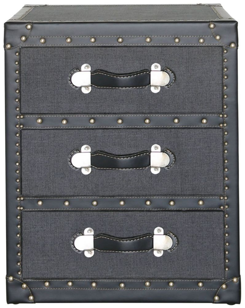 Leece Grey Trunk Style Chest of Drawer - 3 Drawer