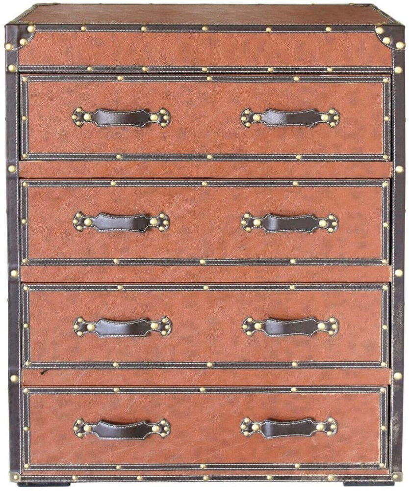 Lodi Brown Faux Leather 4 Drawer Chest (Pair)