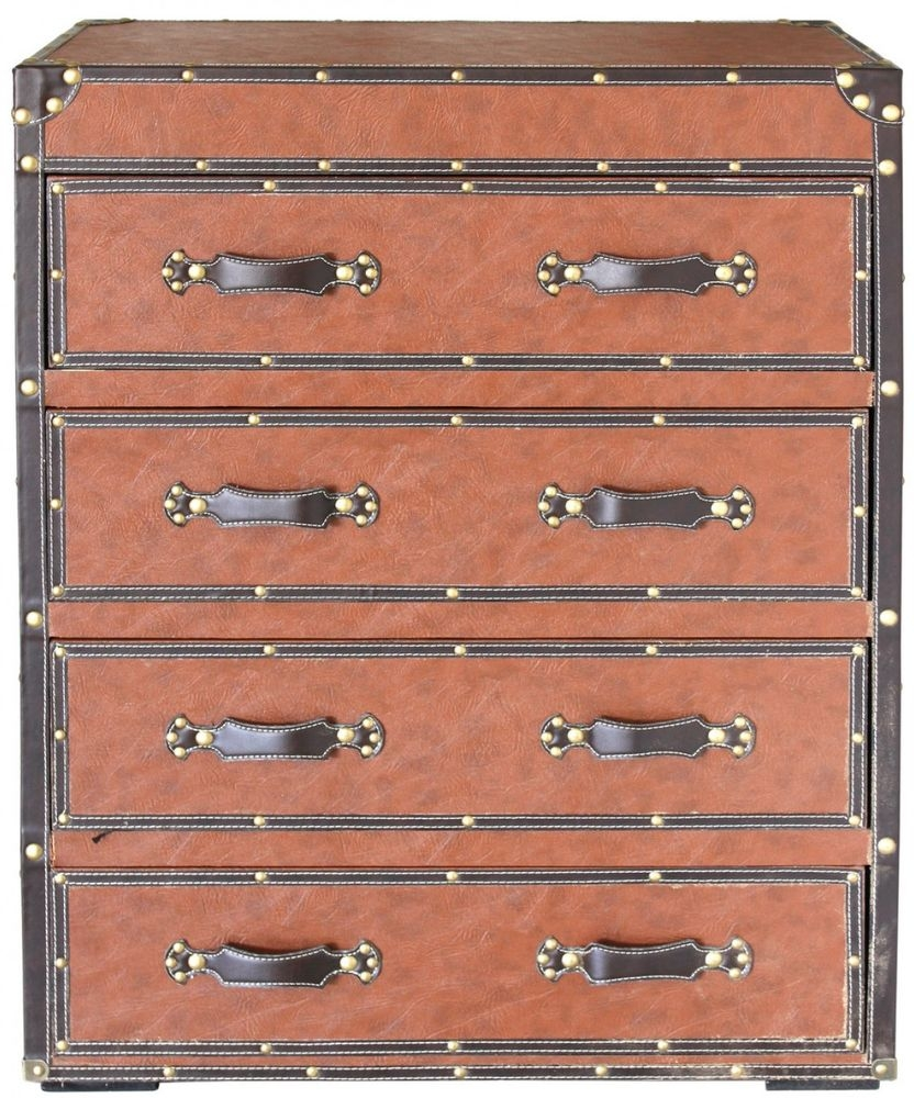 Lodi Brown Faux Leather 4 Drawer Chest