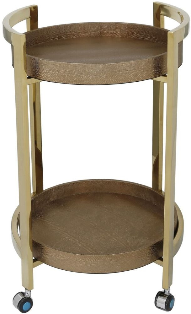 Lucca Faux Lizard Skin 2 Tier Drinks Trolley