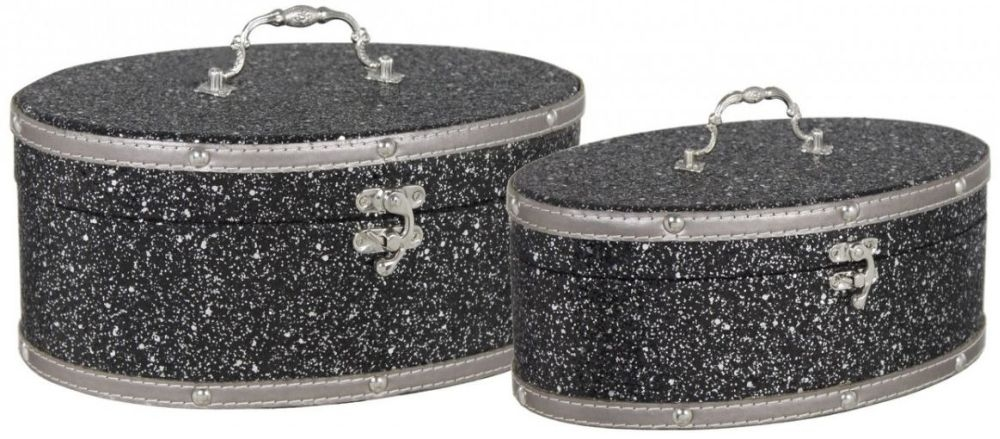 Madison Sparkle Wooden Oval Storage Boxes (Set of 2)
