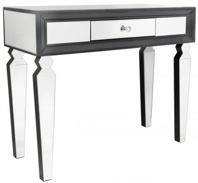 Madison Black Diamond and Clear Mirrored Console Table (Set of 2)