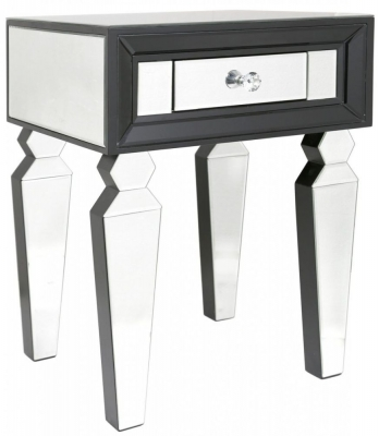 Madison Black Diamond and Clear Mirrored End Table (Set of 2)