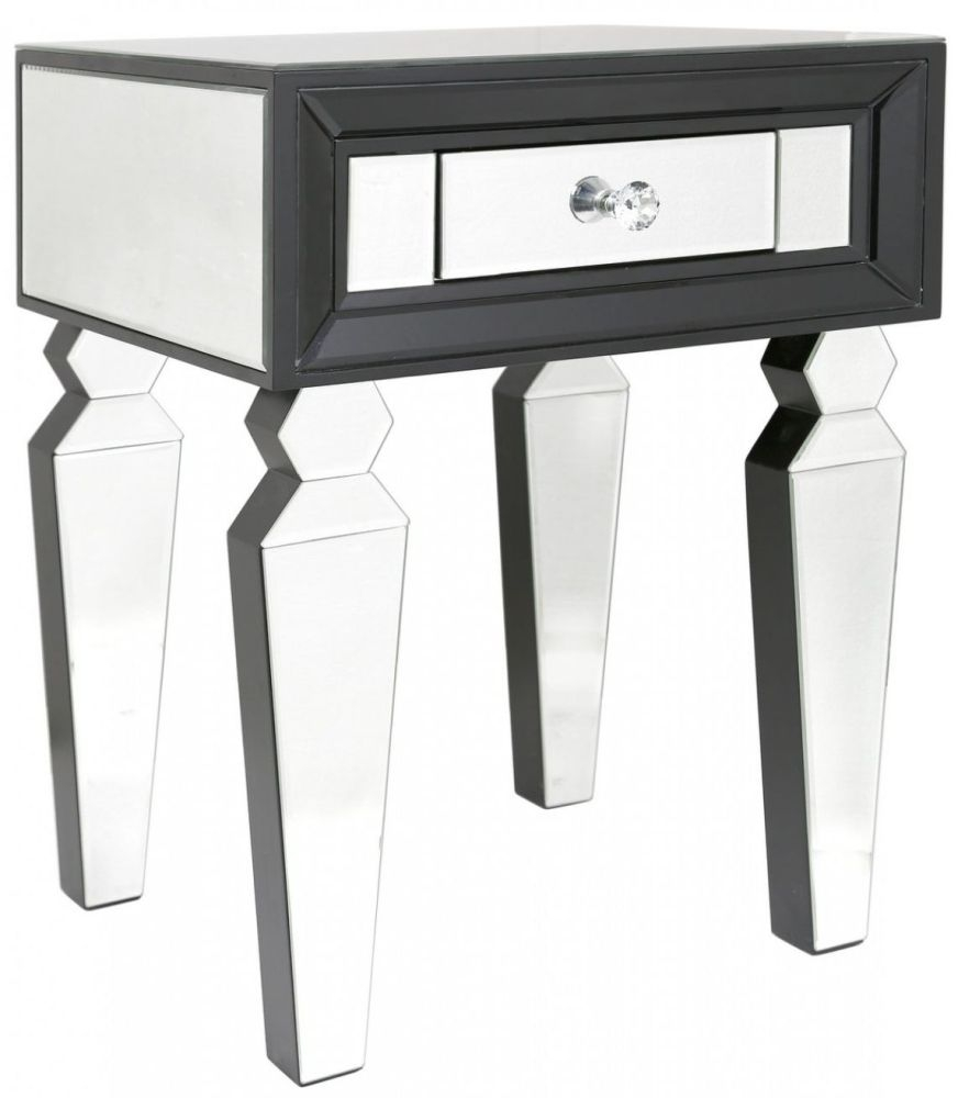 Madison black diamond and clear mirrored console table set for Black and mirrored console table
