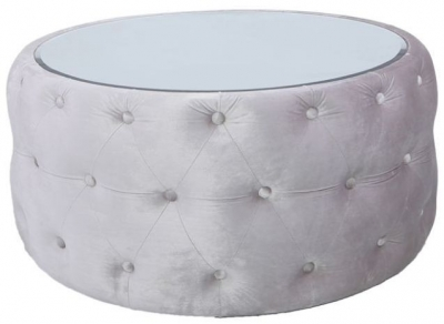 Massena Soft Pink Coffee Table with Mirrored Top