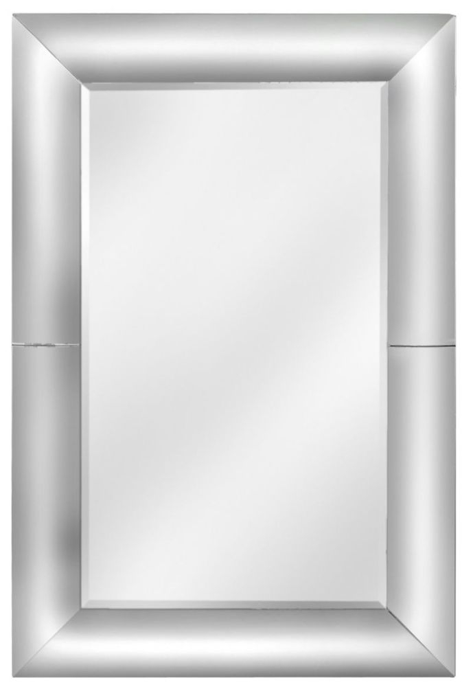 Clear Rounded Frame Rectangular Wall Mirror - 100cm x 150cm