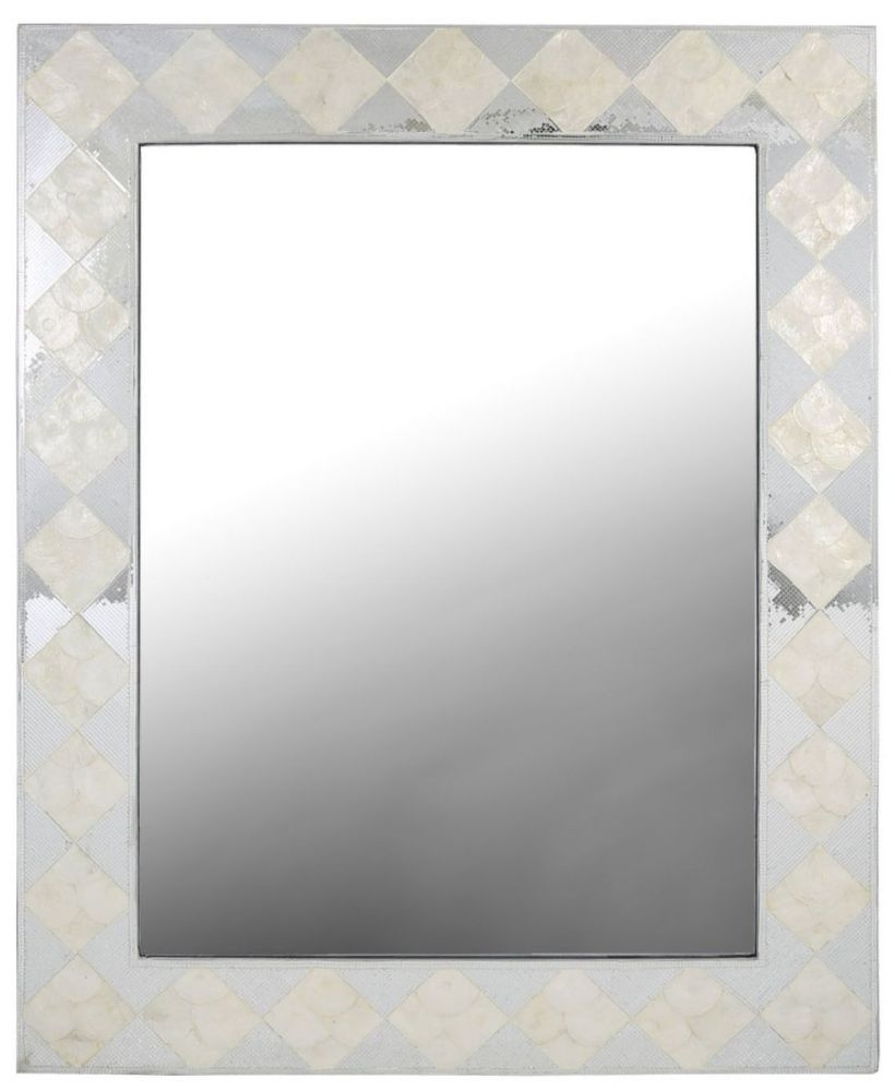 Diamond Rectangular Wall Mirror - White and Silver 85cm x 105cm