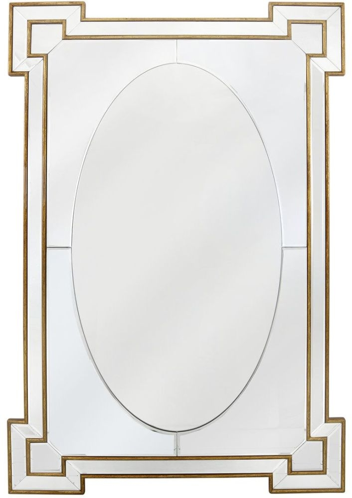 Rectangular Wall Mirror - Gold and Silver 80cm x 120cm