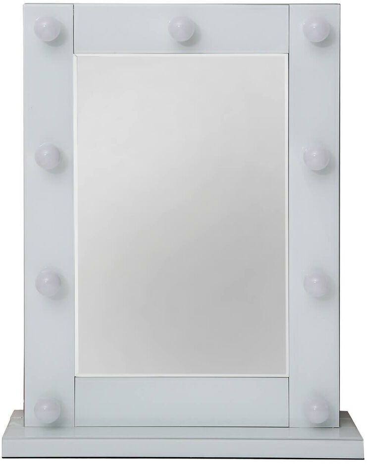 Montague Broadway White Vanity Rectangular Mirror with 9 Light