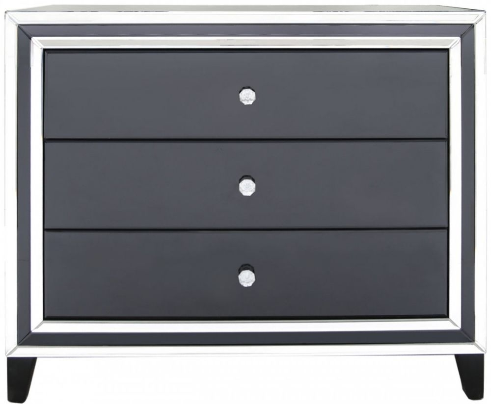 Montague Black and Clear Mirrored 3 Drawer Cabinet